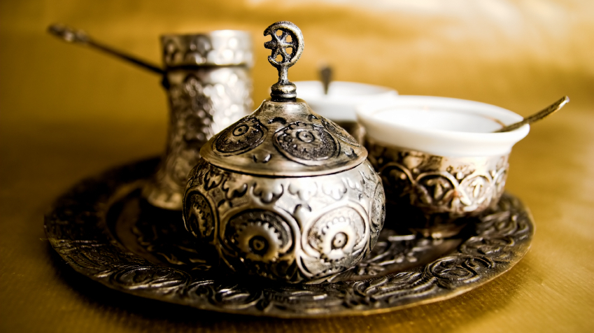 A Turkish coffee set.