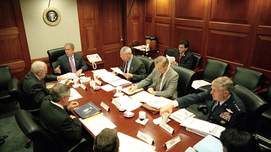 President George W. Bush leads his National Security Council in the Situation Room of the White House on Oct. 12, 2001. At the George W. Bush Presidential Library and Museum, this Situation Room has been rebuilt with the original furnishings. (Getty Images)