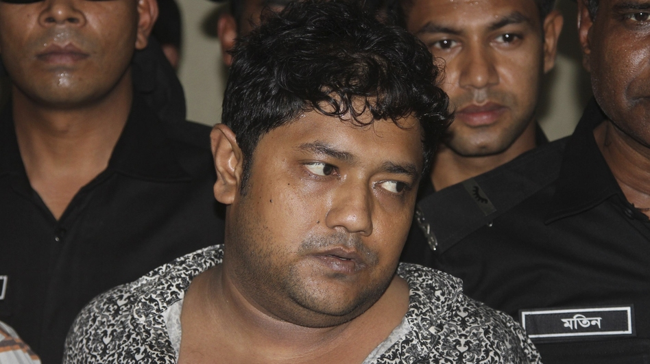 Sohel Rana, the fugitive owner of an illegally constructed building that collapsed last week in Bangladesh, killing some 377 people, is paraded by Rapid Action Battalion commandoes for the media in Dhaka, Bangladesh, on Sunday. (AP)