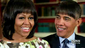 President Obama joked at the White House Correspondents' Dinner that he had experimented with bangs to liven up his second term, stealing a fashion tip from the first lady, Michelle Obama.