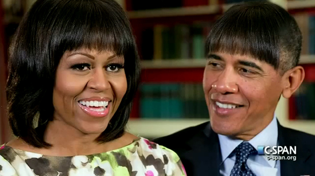 President Obama joked at the White House Correspondents' Dinner that he had experimented with bangs to liven up his second term, stealing a fashion tip from the first lady, Michelle Obama. (CSPAN)