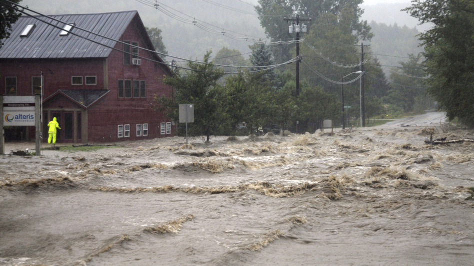 Heavy flooding washed out roads in Waitsfield, Vt., after Tropical Storm Irene in 2011. (AP)