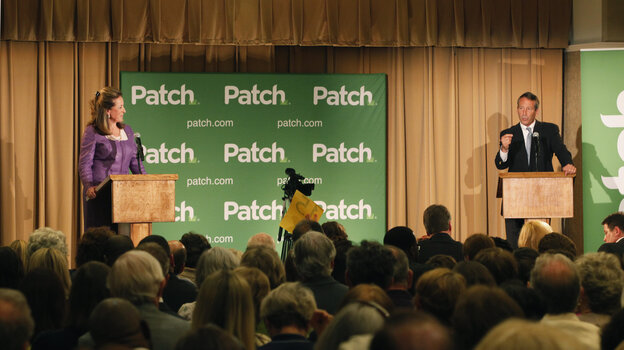 Democrat Elizabeth Colbert Busch and former South Carolina Gov. Mark Sanford debate for the South Carolina 1st Congresional special election in Charleston, S.C., on Monday.