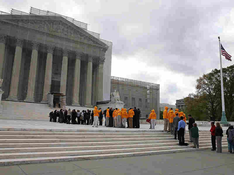People lined up to enter the U.S. Supreme Court building last week.
