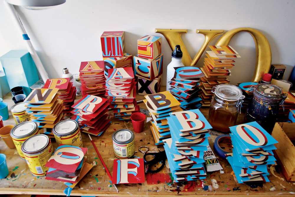 The workshop of San Francisco-based typographer Jeff Canham.