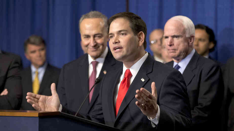 "Sen. Marco Rubio, R-Fla., speaks at a Capitol Hill news conference with the Senate's ""Gang of Eight,"" the bipartisan team pushing an im"