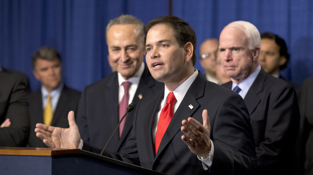"""Sen. Marco Rubio, R-Fla., speaks at a Capitol Hill news conference with the Senate's """"Gang of Eight,"""" the bipartisan team pushing an immigration overhaul, on April 18. (AP)"""