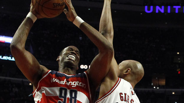 Jason Collins (left), then of the Washington Wizards, during a game this month against the Chicago Bulls. (Reuters /Landov)