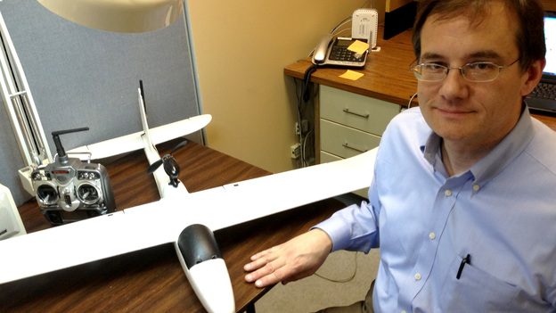Paul Applewhite of Applewhite Aero isn't allowed to fly this 3-pound Styrofoam plane. That's because he has added circuitry to make it autonomous — it can find its way to specified coordinates — which means it's an unmanned aerial vehicle requiring a special testing permit. (NPR)
