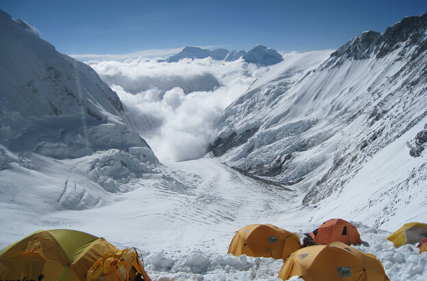 On Mount Everest, a fistfight allegedly broke out near Camp Three, between climbers and Sherpas. This file photo shows the view from Camp Three at 24,000 feet on the mountain's Lhotse Face