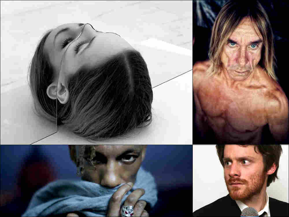 Clockwise from upper left:  Cover art for The National's Trouble Will Find Me, Iggy Pop, Walker Lukens and Tricky