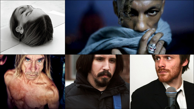 Clockwise from upper left:  Cover art for The National's Trouble Will Find Me, Iggy Pop, Walker Lukens and Tricky (Courtesy of the artists)