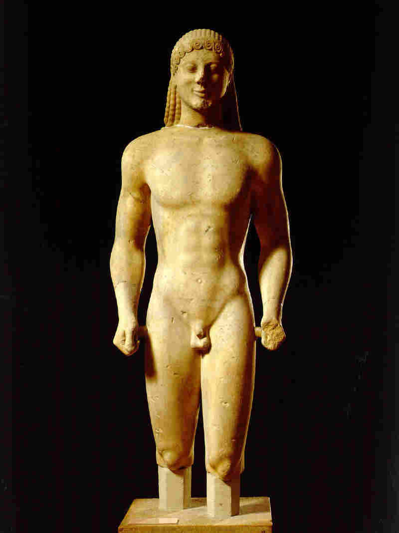 This ancient Greek statue, from 520 B.C., is one of two nudes that were covered up in a Greek exhibit that went on display in Qatar. The statues were sent back to Greece.