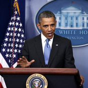 President Obama speaks at a news conference Tuesday. He addressed the use of chemical weapons in Syria and said he's weighing his options.