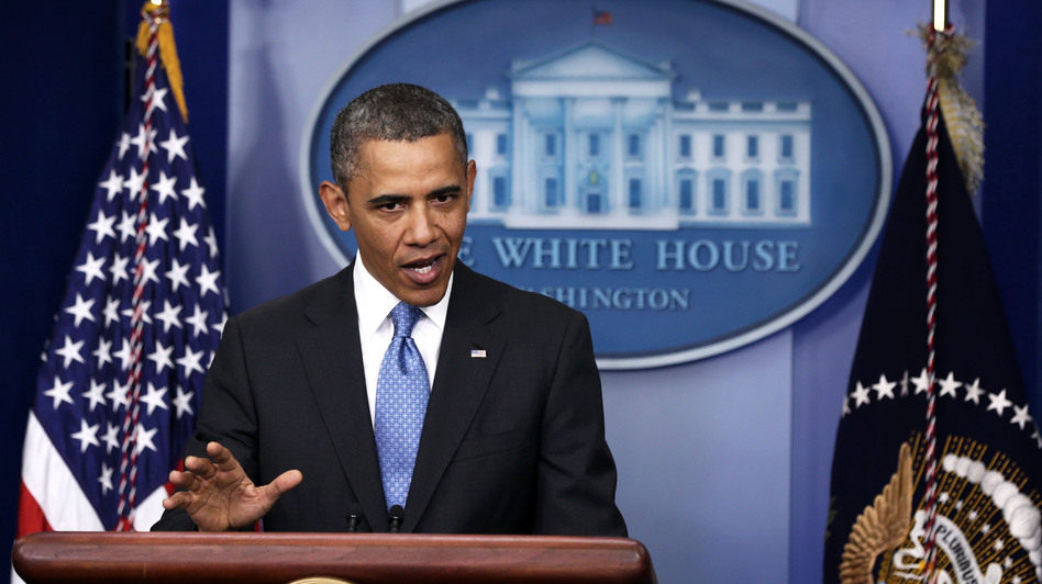 President Obama speaks at a news conference Tuesday. He addressed the use of chemical weapons in Syria and said he's weighing his options. (Getty Images)