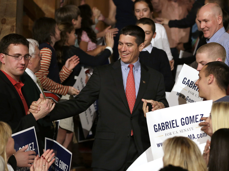 Republican Senate hopeful Gabriel Gomez celebrates with supporters as he makes his way to the stage to deliver a victory speech Tuesday in Cohasset, Mass. (Steven Senne/AP)