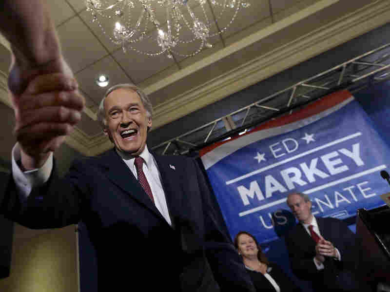 Democratic Senate hopeful Rep. Ed Markey greets a supporter in Boston on Tuesday as he celebrates his primary win. Markey and Republican Gabriel Gomez won their party primaries Tuesday, setting up a race between a 36-year veteran of Washington politics and a political newcomer for the U.S. Senate seat formerly held by John Kerry.