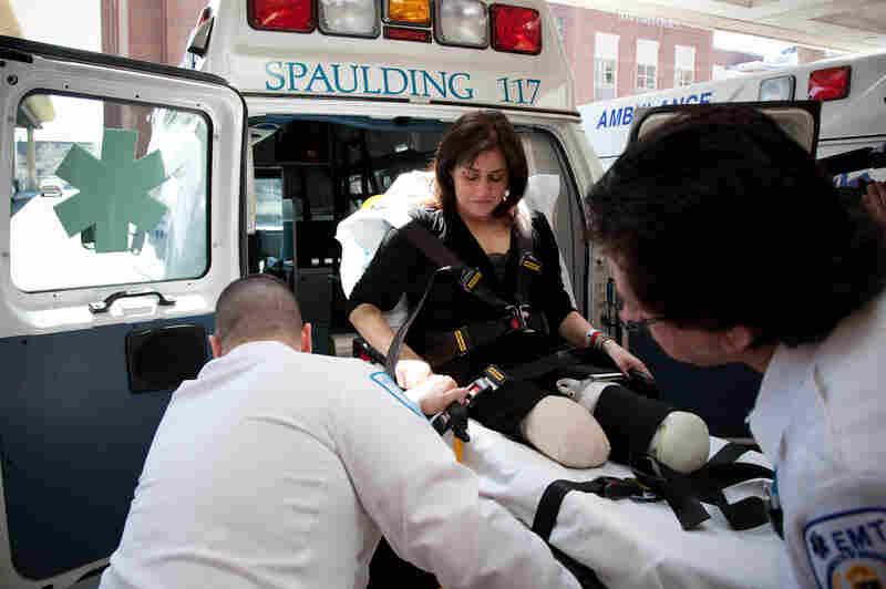 Celeste Corcoran is transported to Spaulding Rehabilitation Hospital on April 28.