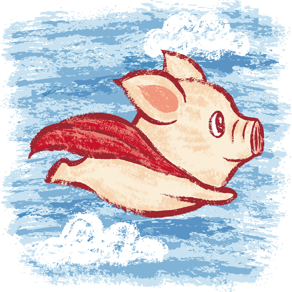Although a flying pig doesn't exist in the real world, our brains use what we know about pigs and birds — and superheroes — to create one in our mind's eye when we hear or read those words.