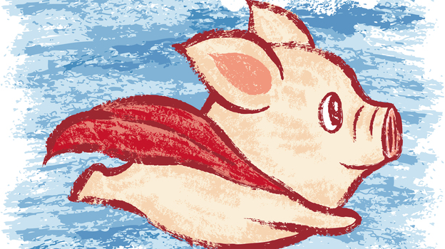 Although a flying pig doesn't exist in the real world, our brains use what we know about pigs and birds — and superheroes — to create one in our mind's eye when we hear or read those words. (iStockphoto.com)