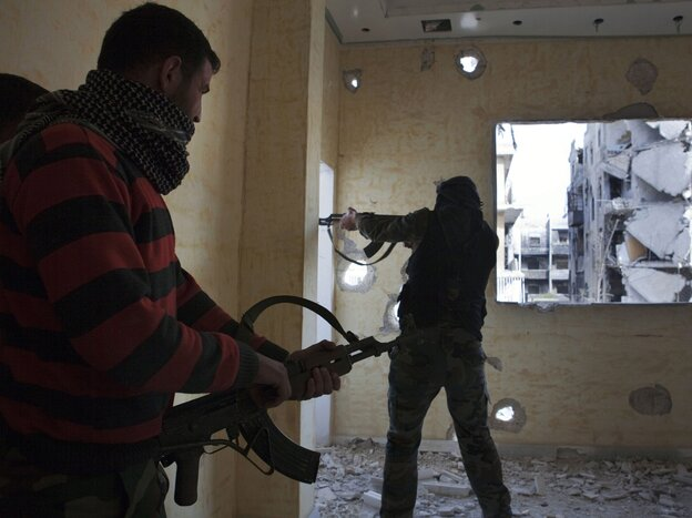 Opposition fighters from the Free Syrian Army last month in Aleppo, Syria.
