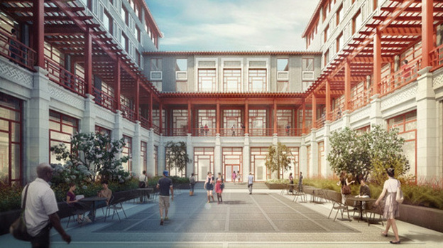 """The Schwarzman Scholars program, planned for the campus of Beijing's Tsinghua University, is described as """"a 21st century college designed to inspire interchange."""" (Artist's rendering courtesy of Robert A.M. Stern Architects)"""