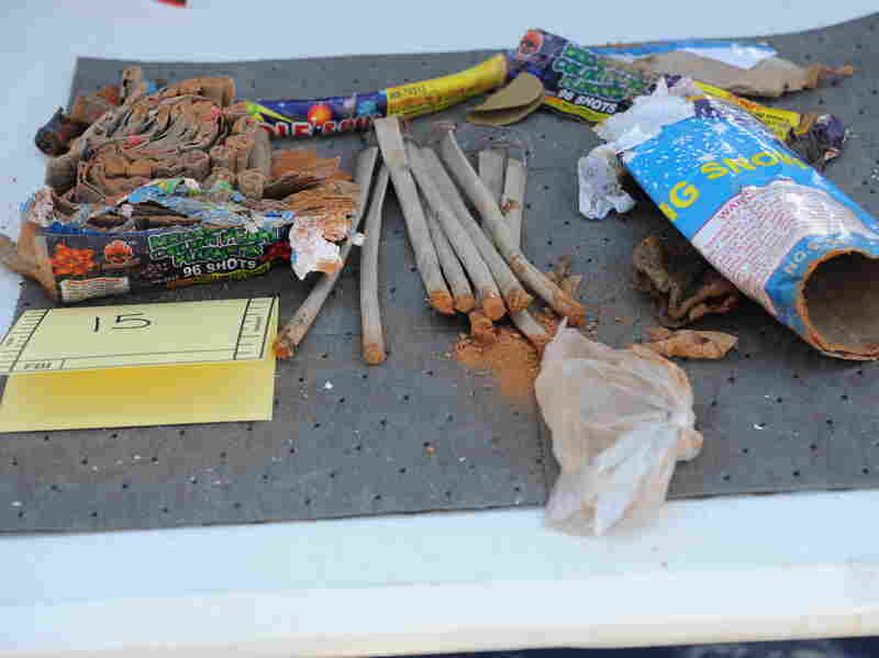 A collection of fireworks that the U.S. Justice Department says were found inside a backpack that belonged to Boston Marathon bombing suspect Dzhokhar Tsarnaev.