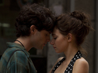 Jeff Buckley, played by Penn Badgley, and Allie, played by Imogen Poots, share a romantic moment in Greetings from Tim Buckley. Today, the younger Buckley is remembered as a brilliant musician who died a tragic, early death, but early in his life, he was overshadowed by his father, Tim — a musician who also died young.
