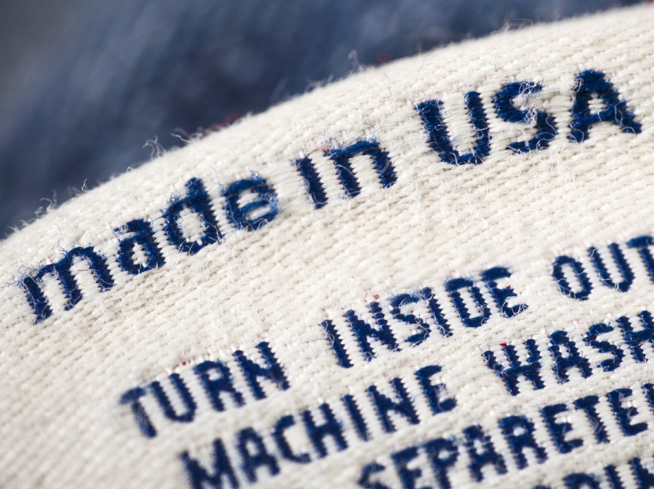 Casual clothing detail fashion background made in the USA