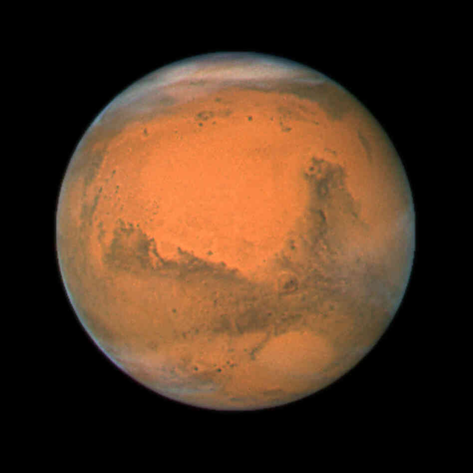 NASA's Hubble Space Telescope took this close-up of the red planet Mars in 2007, when it was just 55 million miles away.