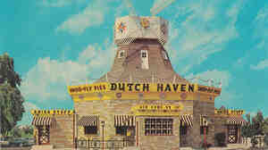 The Dutch Haven restaurant and gift shop in Ronks, Pa. Color postcard, circa 1955.