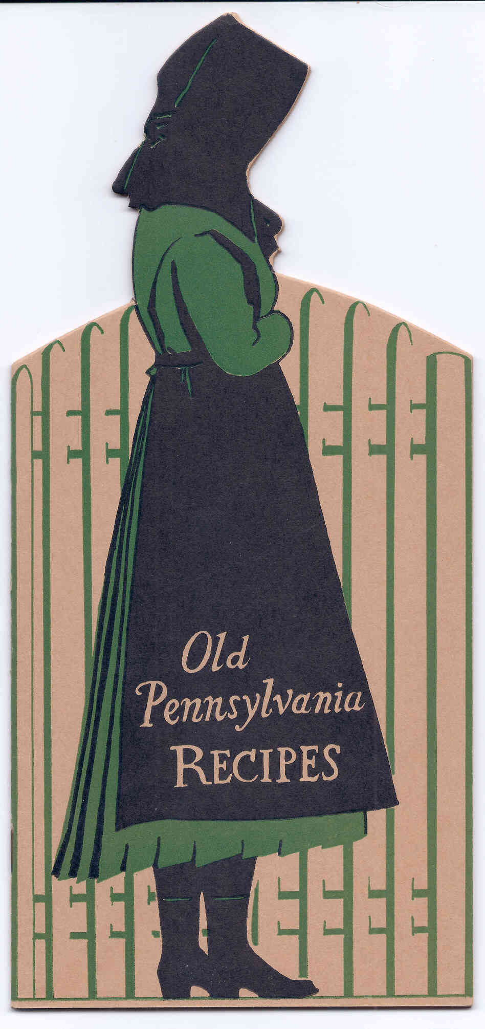 The Apfel & Wenrich die-cut cookbook in the shape of an Amish girl. Lancaster, Pa., 1933.