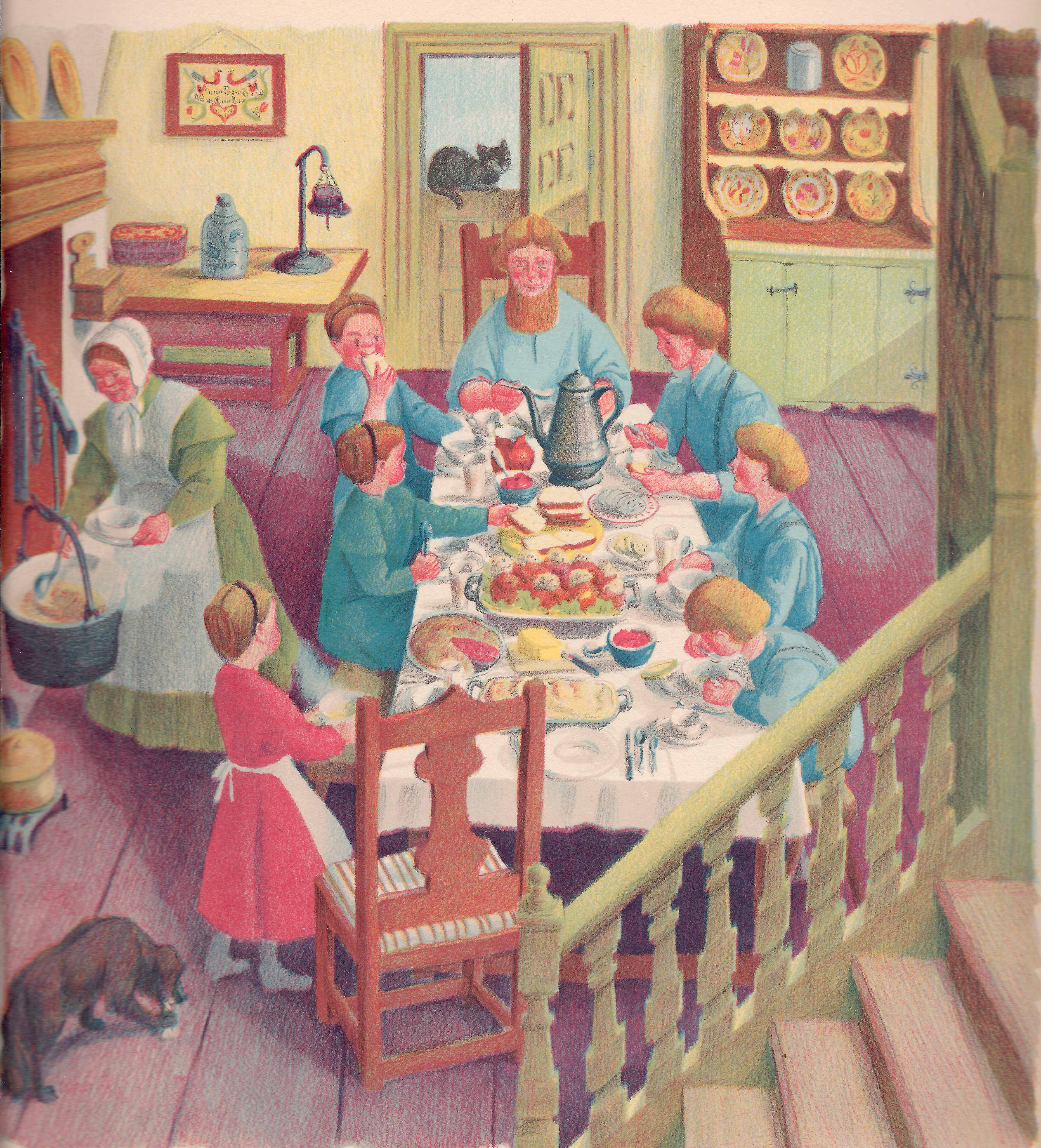 No self-respecting Pennsylvania Dutch family would have eaten near a hot and smoky cooking hearth; the kitchen was in a separate room. This romanticized view of an Amish family meal is from Ann Hark's 1943 children's book, The Story of the Pennsylvania Dutch.