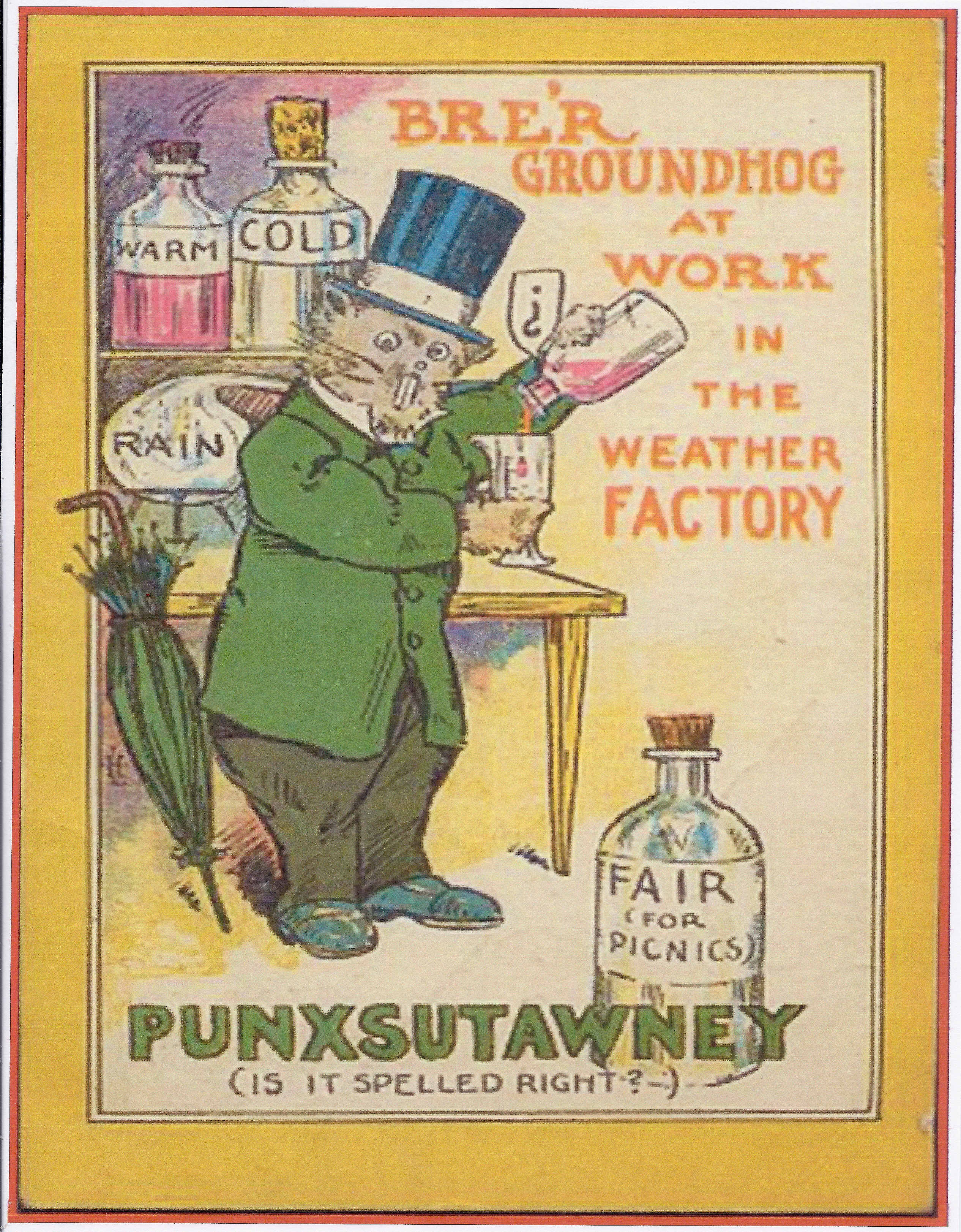 Here's the Punxsutawney groundhog, busy prognosticating the weather back in 1911.