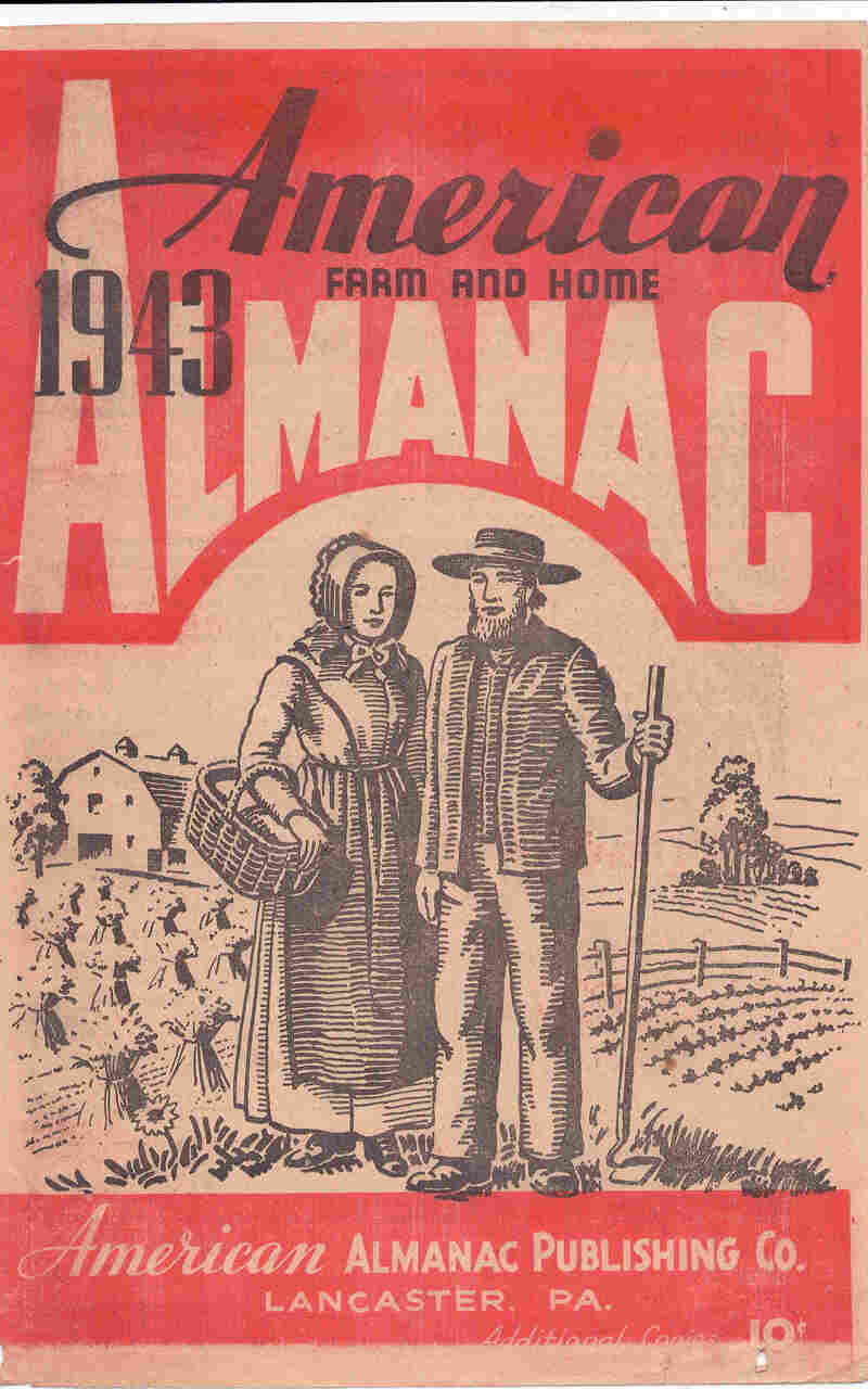 Farmer's almanacs were widely read. This 1943 edition portrays an idealized Amish couple on the farm, a sunnier version of American Gothic.