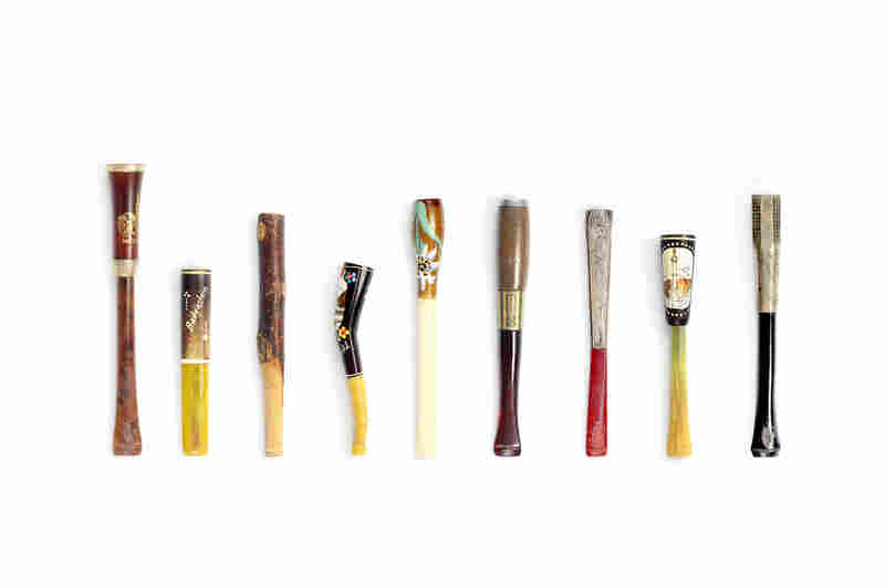 These cigarette holders were collected by Sylvia Sethur while traveling in Europe during the mid-20th century. The pieces photographed here belong to her daughter, Karen Rotenberg.