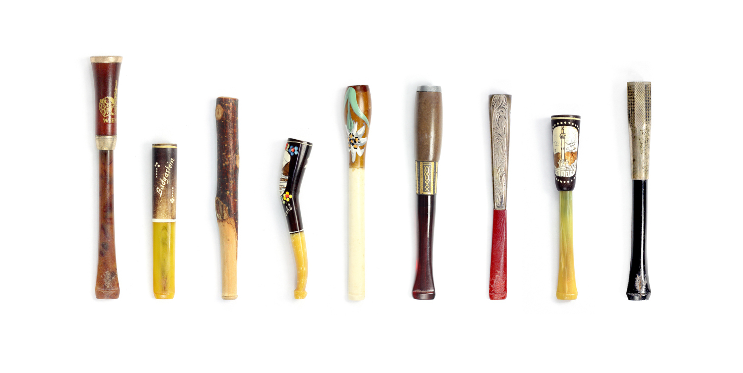 Cigarette holders collected by Sylvia Sethur while traveling in Europe during the mid-20th century. These pieces are from her daughter's personal collection.