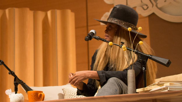 Erykah Badu answers questions on stage during the Red Bull Music Academy, a series of lectures and performances in New York City. (Red Bull Content Pool)