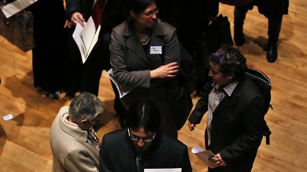 Looking for work: The scene at a job fair in New York City earlier this year. Figures on job growth and unemployment in April are due Friday morning. (Reuters /Landov)