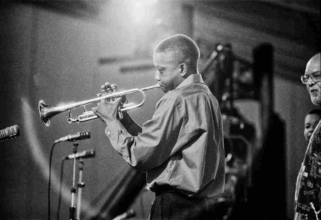 """Bolen shot one of Troy """"Trombone Shorty"""" Andrews' earliest public performances at the 2001 Jazz Fest. Andrews' teacher Clyde Kerr can be seen at the far right."""