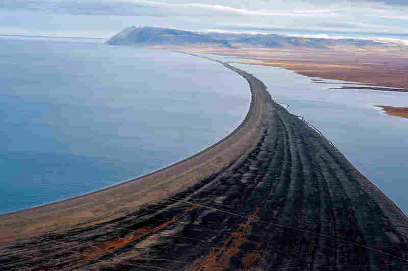 A barrier beach of marine rubble stretches toward desolate Cape Blossom, at the southwestern tip of Wrangel Island. The Siberian mainland lies 88 miles to the south.