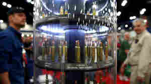 An ammunition display at the NRA's annual convention in Houston on Friday.