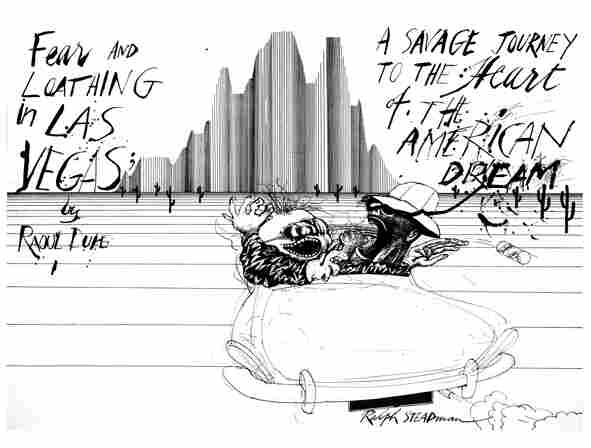 Steadman's trademark style became inseparable from Thompson's writing, particularly the book Fear and Loathing in Las Vegas.