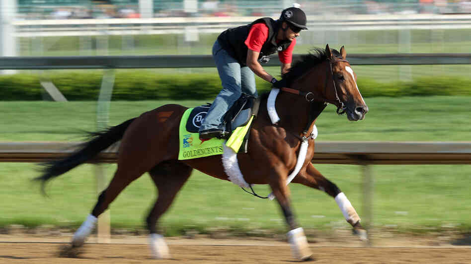 Goldencents training at Churchill Downs on May 1, 2013. Note: Due to an error in information provided by Getty Images, the original image with this post was of Golden Soul during one of its training sessions. We removed that image at 9:25 a.m. ET on May 5 and replaced it with this photo.