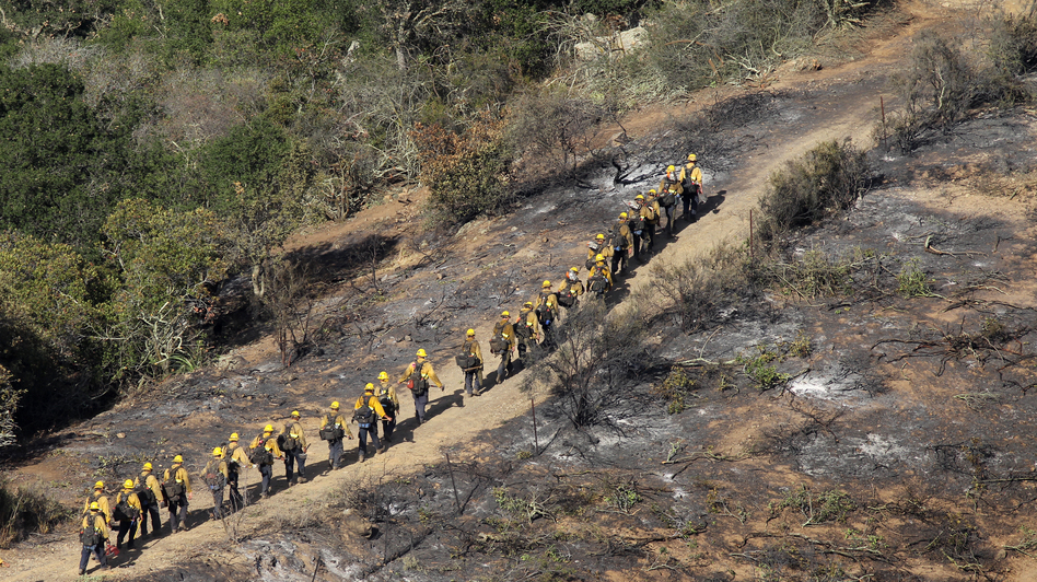 Elite U.S. Forest Service Hotshot firefighters walk the blackened edge of the Springs Fire near Camarillo, California. Citing favorable weather, officials say the fire could be contained Monday.