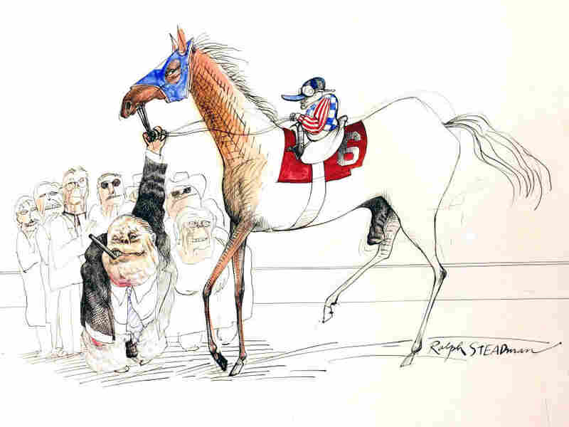 When illustrator Ralph Steadman accepted an assignment with writer Hunter S. Thompson at the Kentucky Derby, he never imagined the weekend that would ensue. Here, Steadman depicted the race's winner, a colt named Dust Commander.