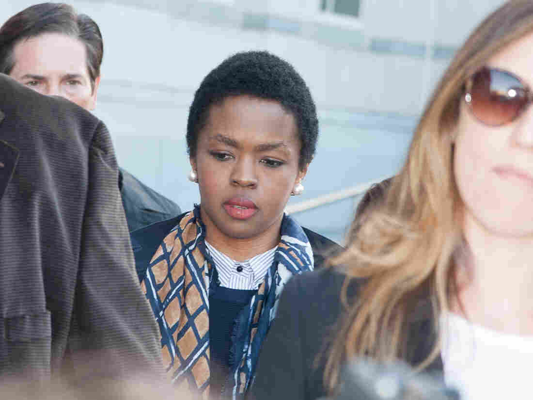 Lauryn Hill departs the court on Monday in Newark, New Jersey.