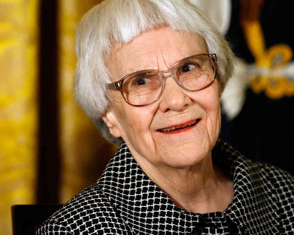 Harper Lee smiles before receiving the 2007 Presidential Medal of Freedom at the White House in Washington, D.C.