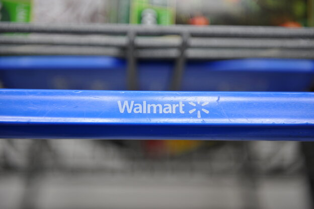 A shopping cart at a Wal-Mart stor