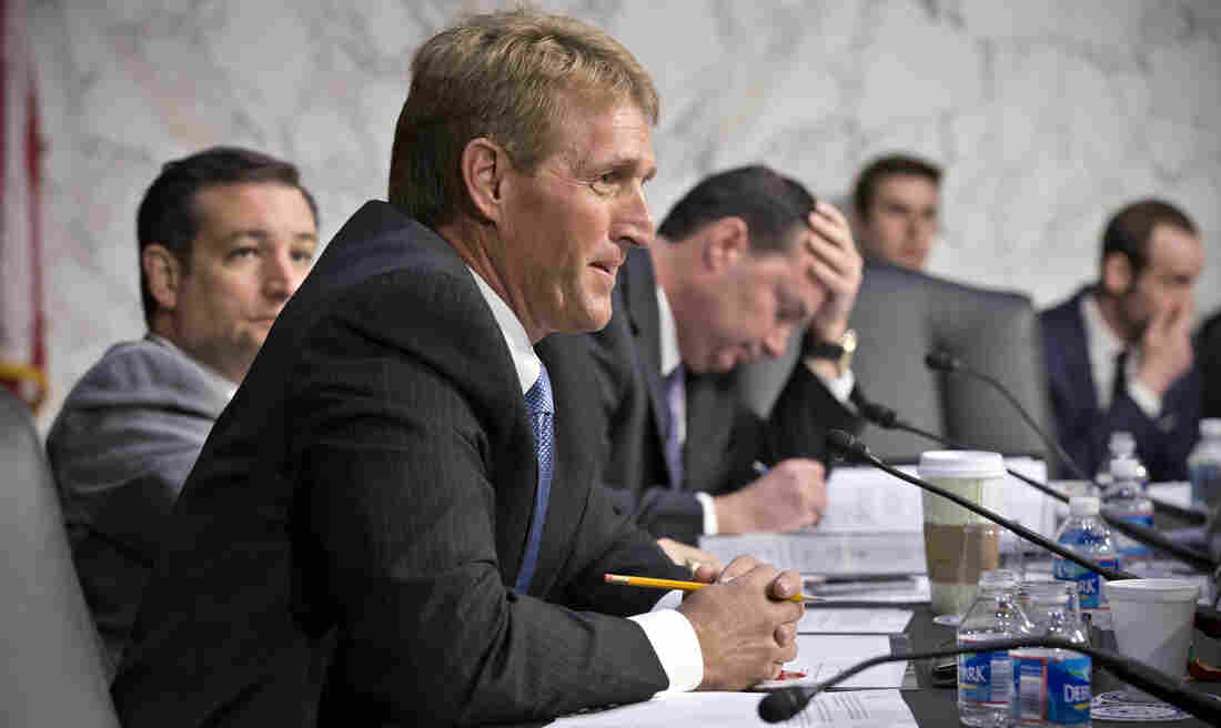 Sen. Jeff Flake, R-Ariz., shown on Capitol Hill on April 23, voted against a bill expanding background checks on gun sales, which has upset some of his constituents.
